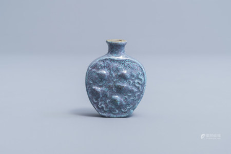 A Chinese robin's egg glazed snuff bottle, 19th/20th C.