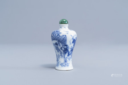 A Chinese blue and white snuff bottle with soldiers near a fortress, 19th C