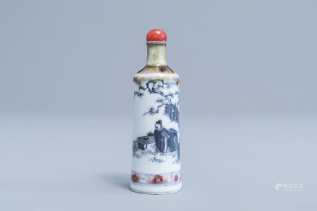 A Chinese blue and white 'peach bloom' glazed snuff bottle, ruyi mark, 19th C.