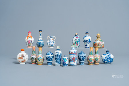 A varied collection of Chinese blue, white, famille rose and iron red snuff bottles and doll's house miniature vases, 20th C.