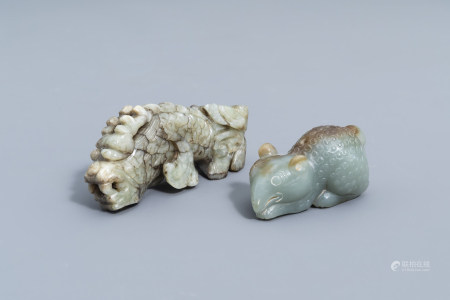 Two Chinese animal shaped jade figures, 20th C.
