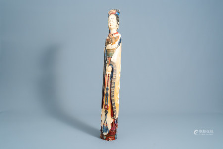 A large Chinese polychrome carved ivory figure of a lady with a rooster, ca. 1900