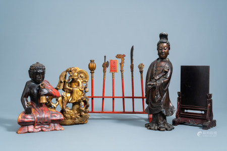 A varied collection of Chinese wood and lacquer ware, 19th/20th C.