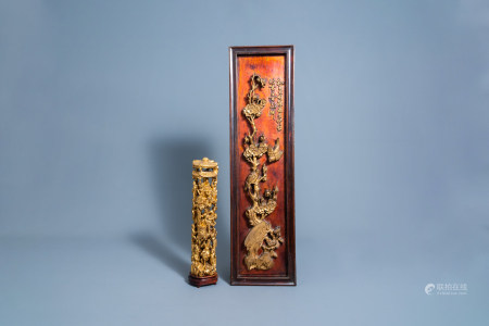 A Chinese reticulated gilt wood group and a panel with birds among blossomming branches, 19th/20th C.