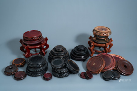 A collection of Chinese wooden stands, 19th/20th C.