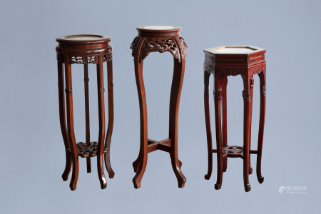 Three Chinese wood stand with marble top, 20th C.