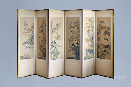 A Chinese six-fold painted silk room divider with birds on blossoming branches, 20th C.