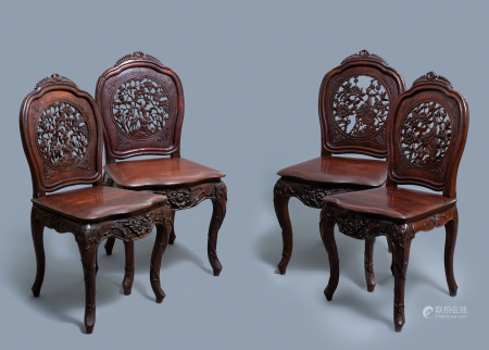 Four wooden chairs with reticulated backs, Macao or Portuguese colonial, 19th C.