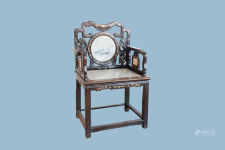 A Chinese carved wood chair with dream stone plaques and mother-of-pearl inlay, 19th C;