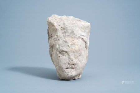 A Chinese carved stone head of Buddha, Tang or earlier