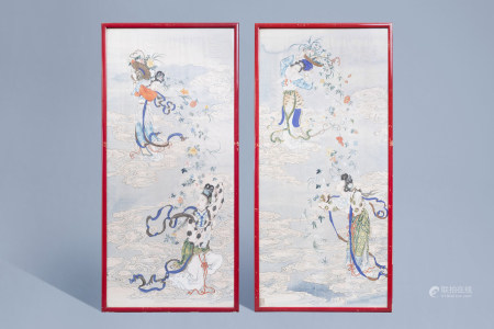 Chinese school, ink and colours on silk, 19th/20th C.: Two works depicting Immortals