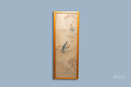 Chinese school, probably Gu Luo (1763-1837), ink and colours on paper: Two ladies and a scholar in a garden