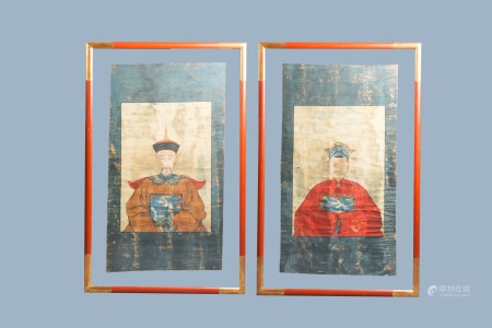 Chinese school, colours on canvas: 19th C.: A pair of portraits of a Mandarin official and his wife