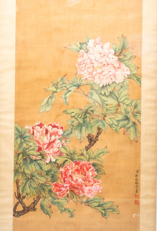 Chinese school, after Jiang Tingxi (1669-1732), ink and colours on paper: Peonies