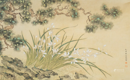 Chinese school, probably Qu Zhaolin (1866-1937), ink and colours on silk: A flowery landscape