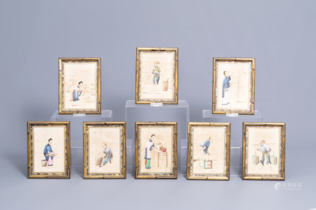 Chinese school, ink and colours on pith paper, 19th C.: Eight works depicting the tea production
