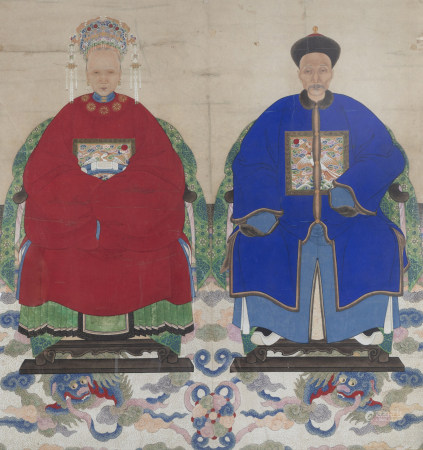 Chinese school, colours on paper, 19th C.: A pair of portraits of a Mandarin official and his wife