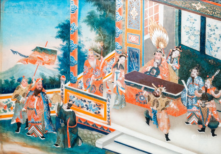 Chinese school, reverse glass painting, 19th C.: An animated palace scene