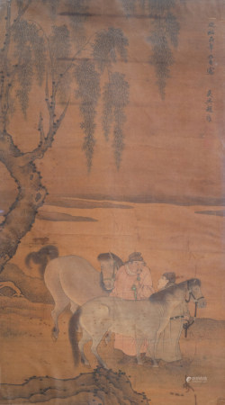 Chinese school, after Zhao Yong (1289-1369), ink and colours on silk, Qing: Two men and their horses in a landscape