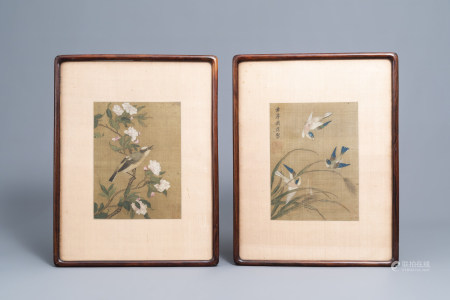 Chinese school, ink and colours on silk, 19th/20th C.: Two works depicting birds between blossoming branches