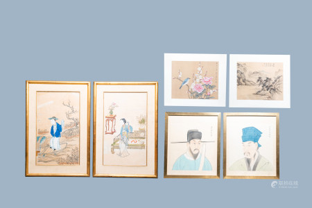 Chinese school, 20th C.: Six various paintings and heightened prints