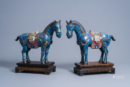 A pair of Chinese cloisonne horses on wooden bases, 20th C.