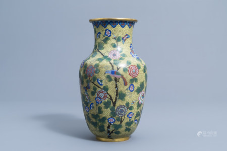 A Chinese cloisonne vase with a bird and butterflies among blossoming branches, Jiaqing