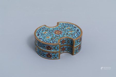 A Chinese cloisonne ingot shaped box and cover with lotus design, Qianlong mark, 19th C.