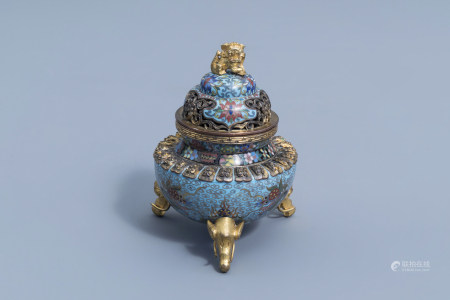 A Chinese cloisonne tripod 'dragons chasing the pearl' incense burner and cover, 20th C.