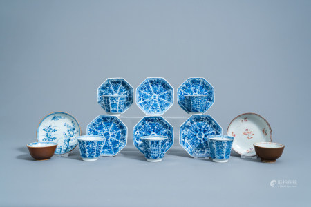 Seven Chinese blue, white and famille rose cups and saucers with floral design, Kangxi/Qianlong