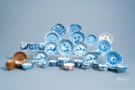 A varied collection of Chinese famille rose, blue, white and Batavian ware cups and saucers, Kangxi and later