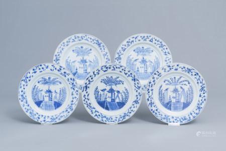 Five Chinese blue and white 'Cuckoo outside the house' plates, Kangxi/Yongzheng