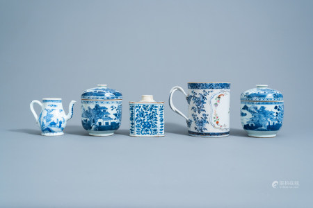 A varied collection of Chinese blue, white and famille rose porcelain with floral design and animated landscapes, Kangxi/Qianlong