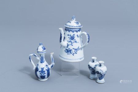 A pair of Chinese blue and white doll's house miniature vases with floral design and two various jugs, Kangxi/Qianlong