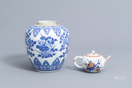 A Chinese blue and white jar and a verte-Imari teapot and cover with floral design, Kangxi and later