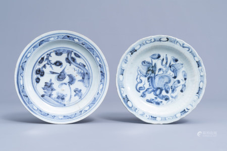 Two Chinese blue and white plates with a mythical creature, Ming