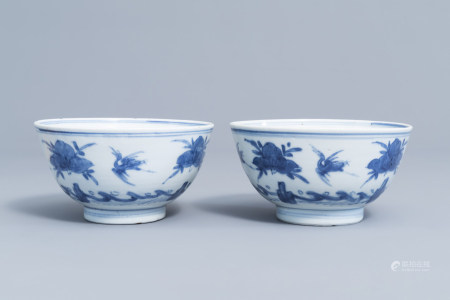 Two Chinese blue and white bowls with cranes and peaches, Ming