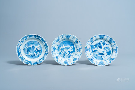 Three Chinese blue and white plates with deer and ducks in a landscape, Wanli