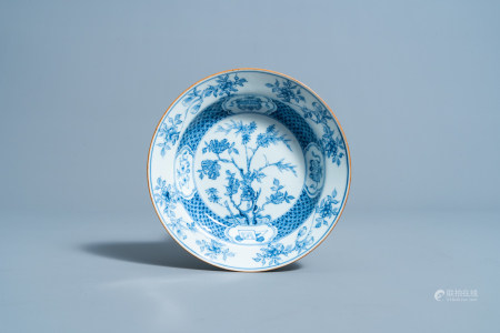 A Chinese blue and white deep plate with floral design, Yongzheng
