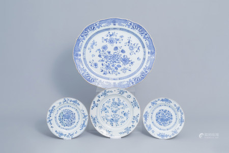 A large Chinese blue and white charger and three plates with floral design, Yongzheng/Qianlong