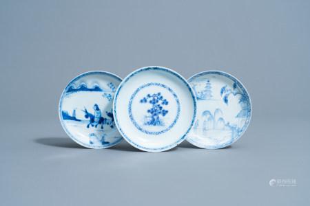 Three various Chinese blue and white Nanking and Ca Mau - Binh Thuan cargo shipwreck saucers, Yongzheng/Qianlong