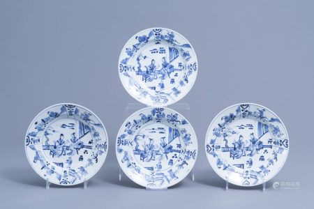 Four Chinese blue and white plates with ladies on a terrace, Yongzheng