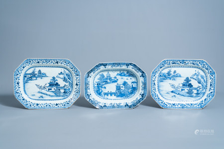Three Chinese blue and white 'landscape' chargers, Qianlong