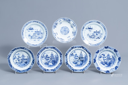 Seven Chinese blue and white dishes with a landscape and floral design, Qianlong