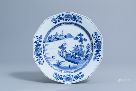 A Chinese blue and white octagonal charger with an animated river landscape, Qianlong