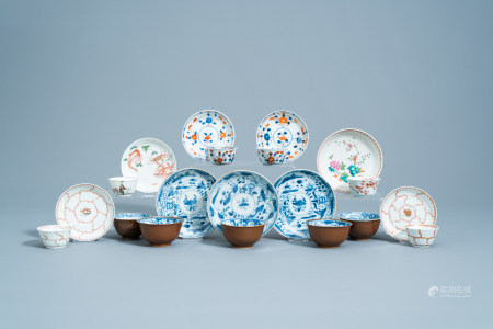 A varied collection of Chinese blue, white, famille rose, Imari style and iron red cups and saucers, Yongzheng/Qianlong