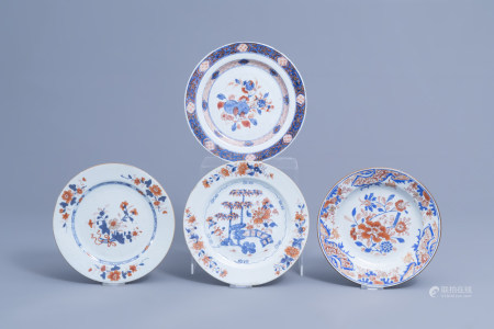 Four Chinese Imari style plates with floral design, Kangxi/Qianlong