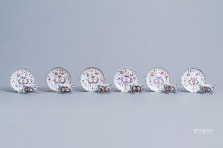Six Chinese Imari style cups and saucers with floral design, Qianlong