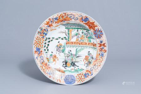 A Chinese verte-Imari 'General Yang and Mu Guiying' charger, Kangxi