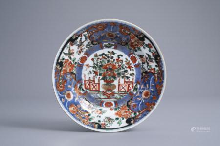 A Chinese famille verte 'Stanislas' plate, Kangxi
